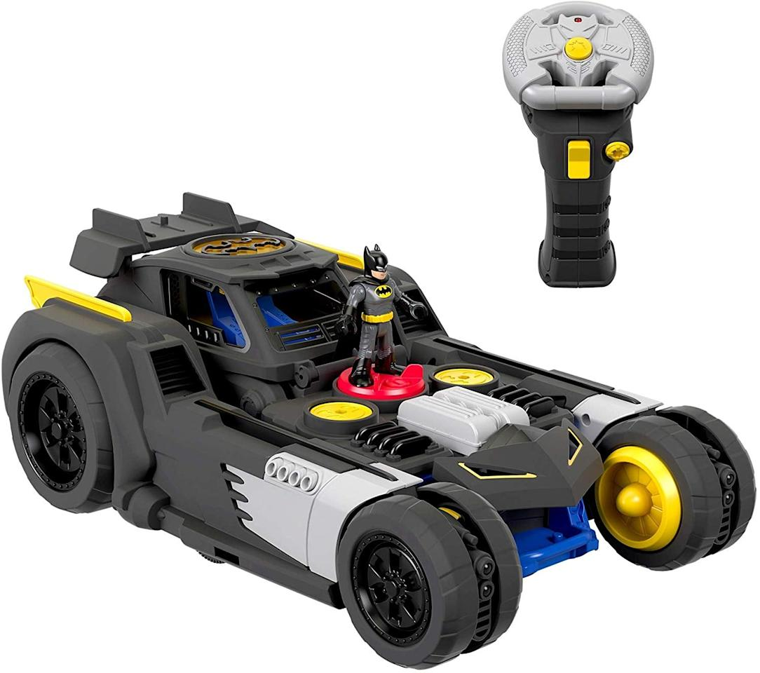 """<p>The remote-controlled <a href=""""https://www.popsugar.com/buy/Imaginext-Fisher-Price-DC-Super-Friends-Transforming-Batmobile-RC-493026?p_name=Imaginext%20Fisher-Price%20DC%20Super%20Friends%20Transforming%20Batmobile%20R%2FC&retailer=amazon.com&pid=493026&price=80&evar1=moms%3Aus&evar9=46285065&evar98=https%3A%2F%2Fwww.popsugar.com%2Fphoto-gallery%2F46285065%2Fimage%2F46937418%2FImaginext-Fisher-Price-DC-Super-Friends-Transforming-Batmobile-RC&list1=shopping%2Ctoys&prop13=api&pdata=1"""" rel=""""nofollow"""" data-shoppable-link=""""1"""" target=""""_blank"""" class=""""ga-track"""" data-ga-category=""""Related"""" data-ga-label=""""https://www.amazon.com/Imaginext-Fisher-Price-Friends-Transforming-Batmobile/dp/B07MFRCV4H/ref=asc_df_B07MFRCV4H/"""" data-ga-action=""""In-Line Links"""">Imaginext Fisher-Price DC Super Friends Transforming Batmobile R/C</a> ($80) can be put into battle mode with the flick of a switch, allowing it to zoom fast and transform its lights and sounds.</p>"""