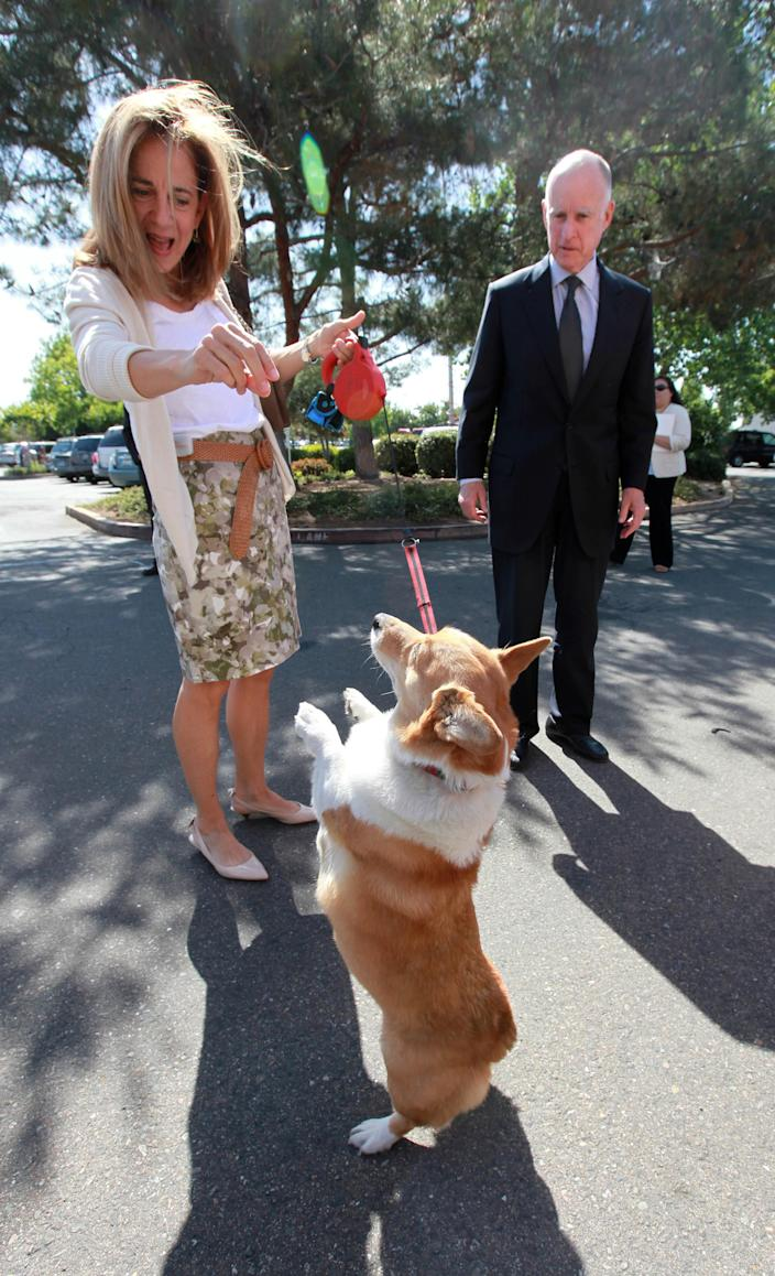 Anne Gust Brown, the wife of Gov. Jerry Brown, right, demonstrates the new trick their dog, Sutter, has learned before they turned in signature petitions for the governors tax-hike initiative at the Sacramento County Registrar of Voters in Sacramento, Calif., Thursday, May 10, 2012. Brown's initiative is one of two tax hike petitions that are expected to qualify for November ballot. Brown has warned that if voters do not pass the tax hikes there would be even deeper cuts to schools, higher education and social services.(AP Photo/Rich Pedroncelli)