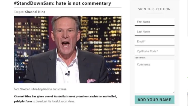 The Sam Newman petition, pictured here as a screenshot.