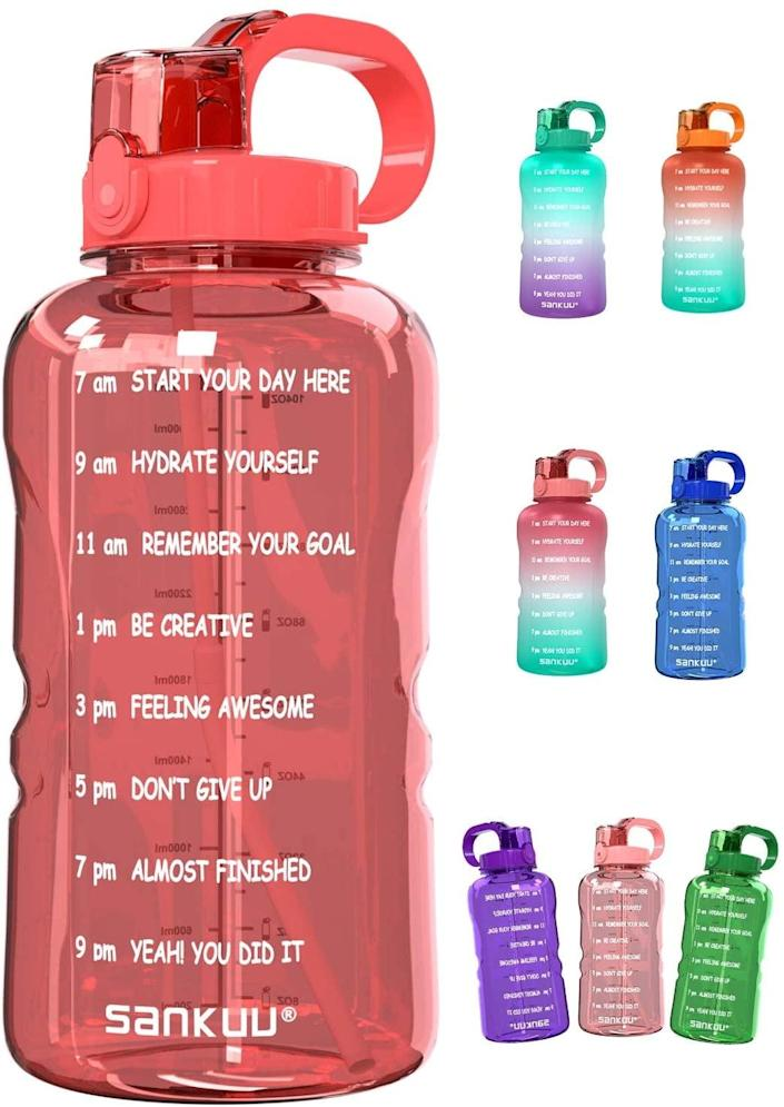 <p>You won't have to worry about refilling this <span>SANKUU Large Gallon Motivational Water Bottle</span> ($19) every other hour.</p>