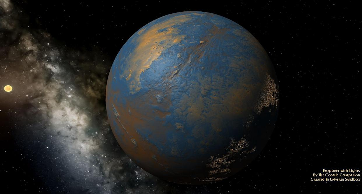 Exoplanets orbiting stars rich in phosphorus may be more likely to develop life, a new study suggests. Image credit: The Cosmic Companion/Created in Universe Sandbox.