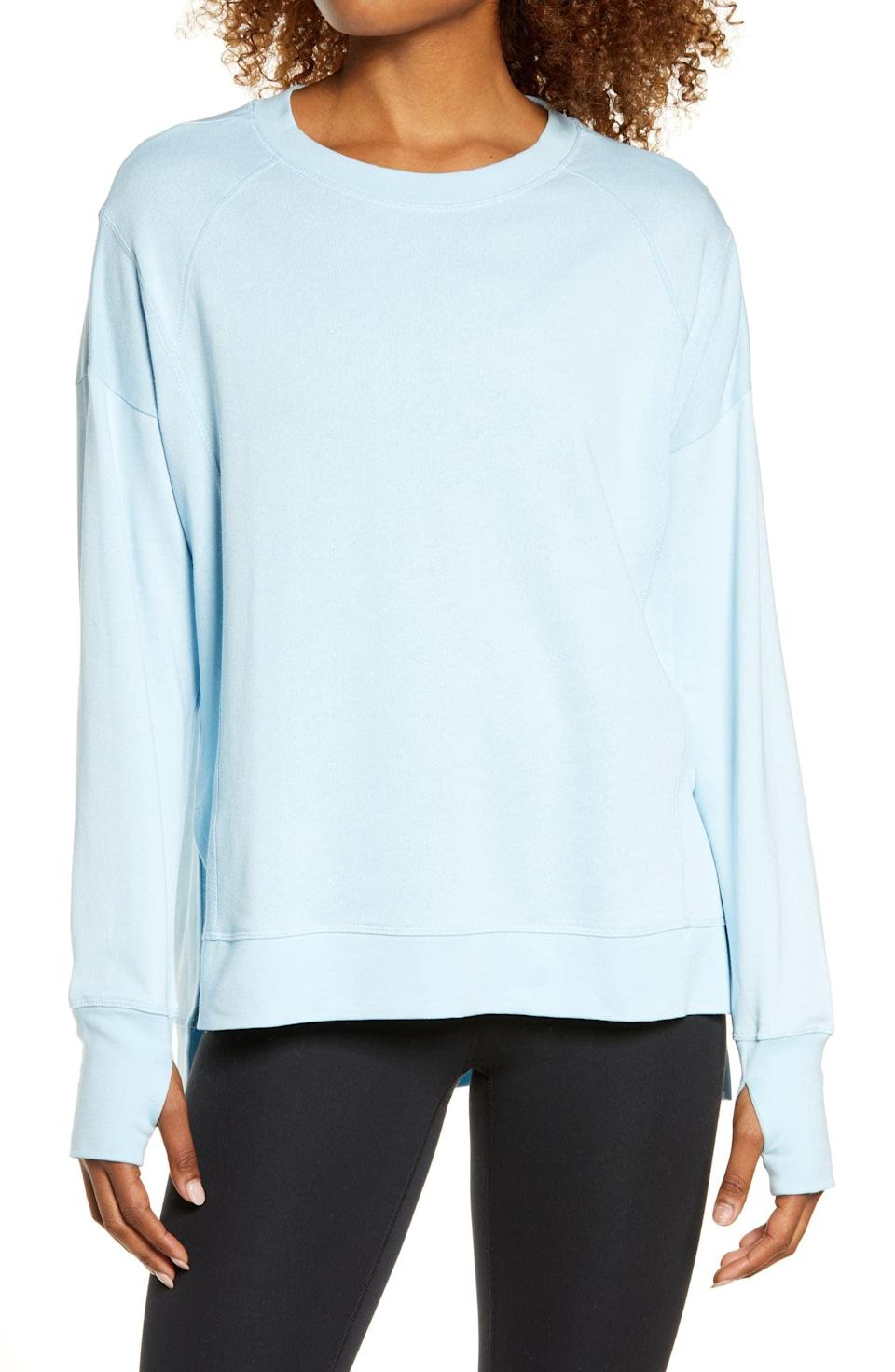 <p>Layer up in this <span>Sweaty Betty After Class Sweatshirt</span> ($78).</p>