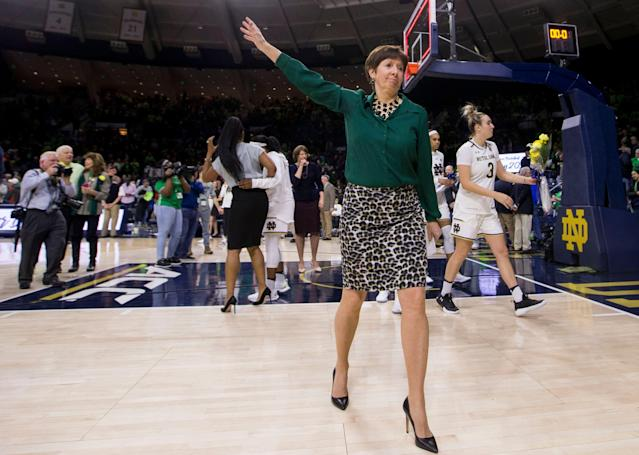 Notre Dame women's basketball coach Muffet McGraw wants more women in leadership positions in sports. (AP Photo/Robert Franklin)