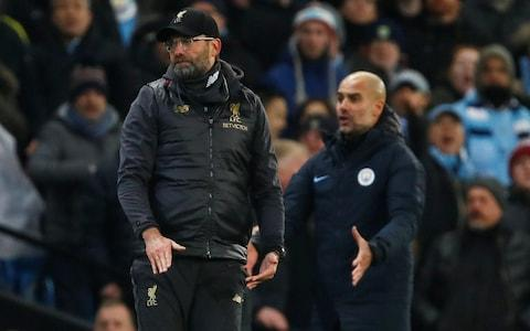<span>Guardiola and Klopp were animated throughout</span> <span>Credit: REUTERS </span>