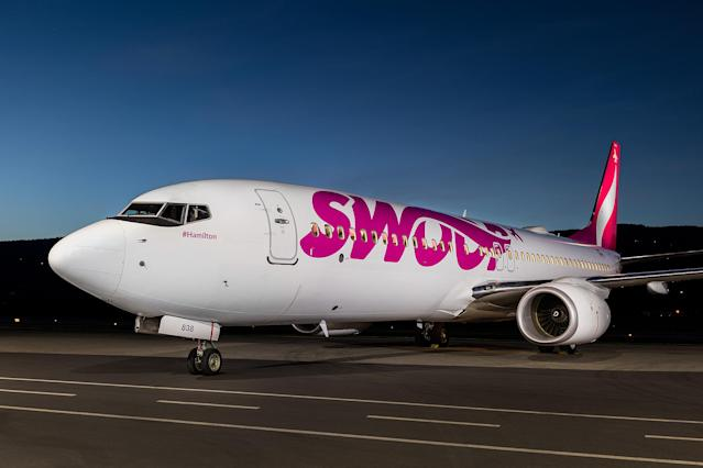 The Swoop logo is seen on the side of a plane. (Swoop)