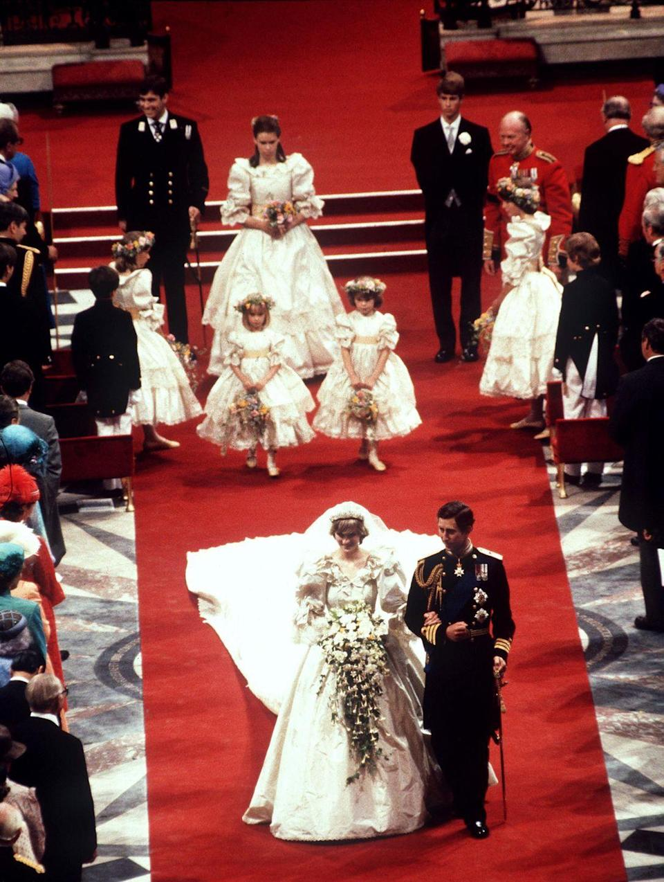 """<p>It wasn't just Princess Diana's wedding dress that impacted <a href=""""https://www.elle.com/fashion/personal-style/g31437529/bridal-style-evolution/"""" rel=""""nofollow noopener"""" target=""""_blank"""" data-ylk=""""slk:bridal fashion"""" class=""""link rapid-noclick-resp"""">bridal fashion</a>. Her choice of bridesmaid dresses sent brides around the globe into a flurry over puffy sleeves and taffeta for the remainder of the decade. </p>"""