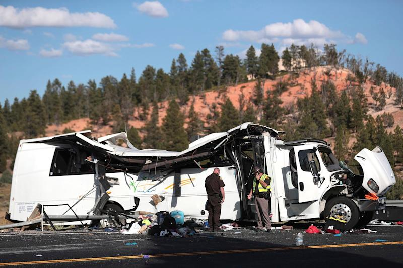 The tour bus was headed towards Bryce Canyon National Park, according to officials (AP)