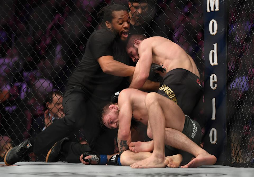 Khabib submitted Conor McGregor in the biggest fight in UFC history in 2018Getty Images