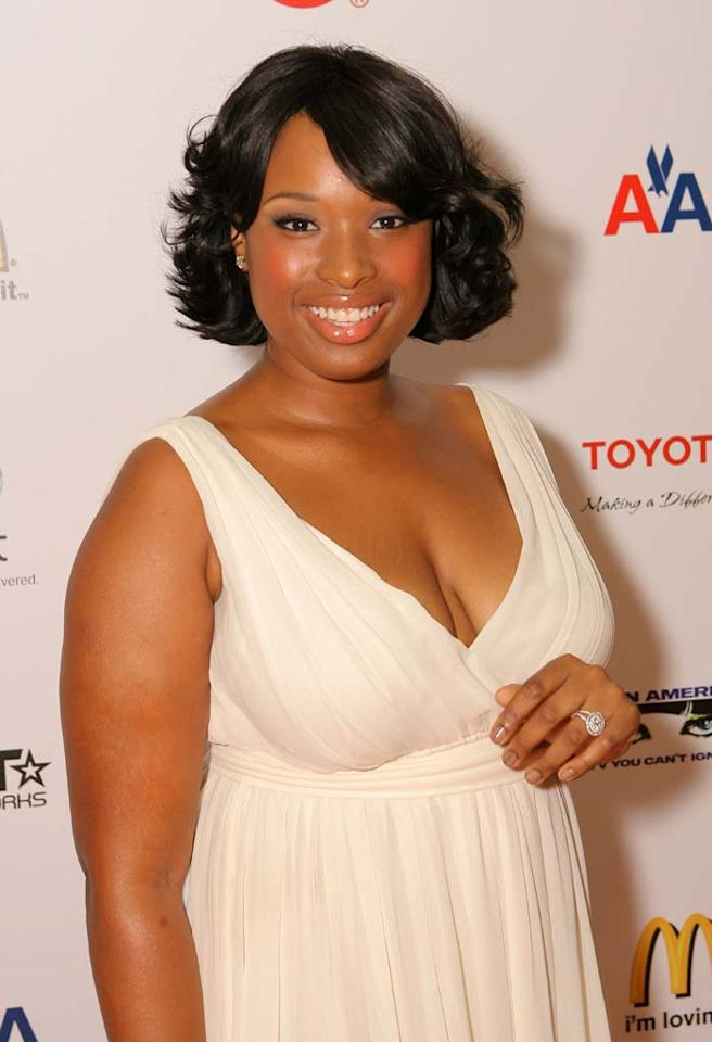 """Jennifer Hudson also debuted some new bling last week: an engagement ring! A rep for the """"American Idol"""" contestant-turned-Oscar winner confirmed her engagement to another reality star: """"Punk"""" from """"I Love New York."""" Leon Bennett/<a href=""""http://www.wireimage.com"""" target=""""new"""">WireImage.com</a> - September 13, 2008"""