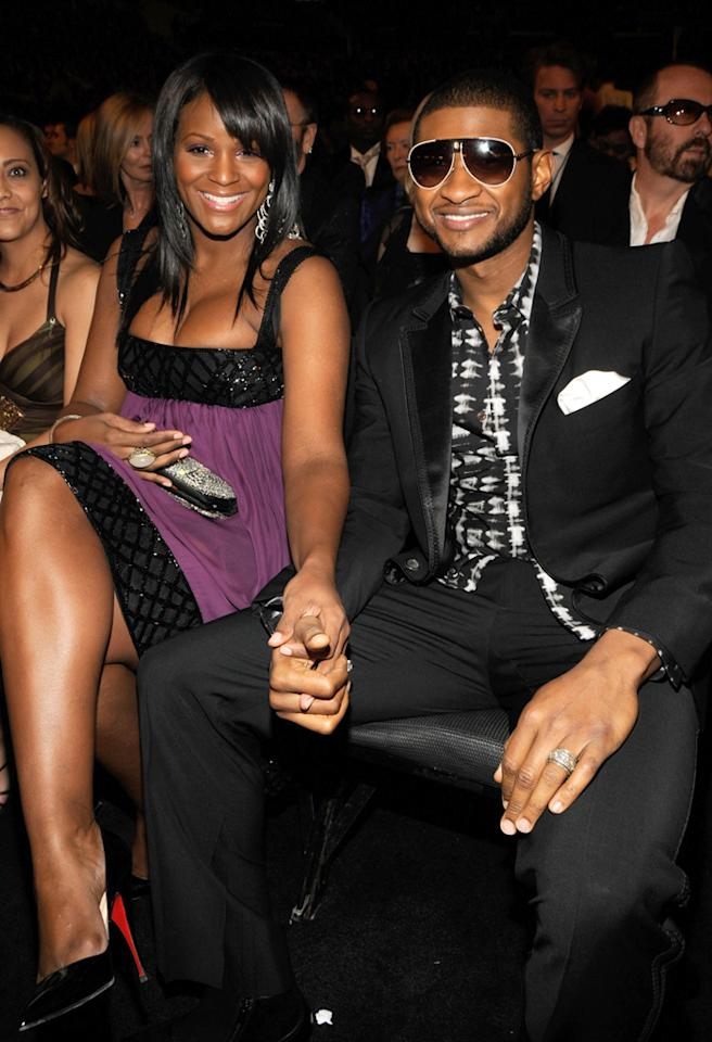 (EXCLUSIVE, Premium Rates Apply) LOS ANGELES, CA - FEBRUARY 10:  Tamika Foster and Musician Usher at the 50th Annual GRAMMY Awards at the Staples Center on February 10, 2008 in Los Angeles, California. **EXCLUSIVE**  (Photo by Kevin Mazur/WireImage)