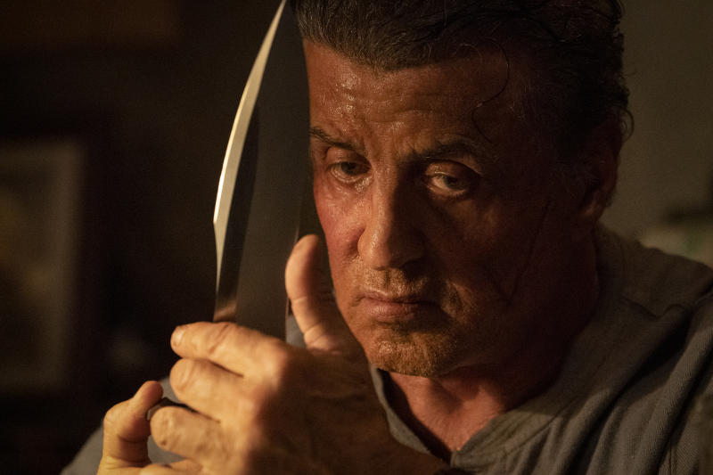 """This image released by Lionsgate shows Sylvester Stallone as John Rambo in a scene from """"Rambo: Last Blood."""" (Yana Blajeva/Lionsgate via AP)"""