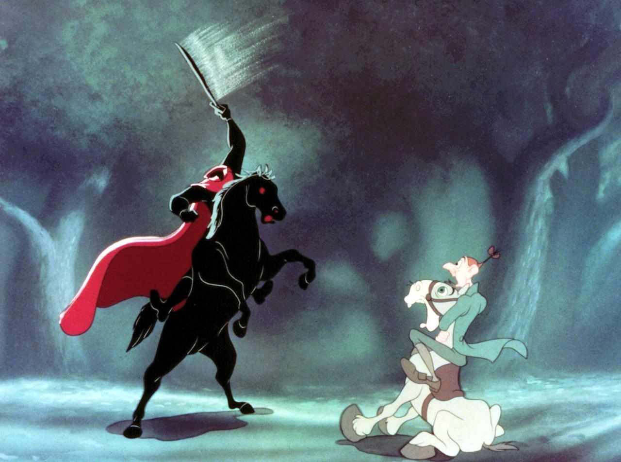 """<p><strong>The Adventures of Ichabod and Mr. Toad</strong> is a two-part film, one part based on the book <strong>The Wind in the Willows</strong> and the other on the short story """"The Legend of Sleepy Hollow."""" The latter ends on a rather spooky note. With a headless horseman and a vengeful ex-beau, Ichabod's adventures will give you the most drama you'll find in a G-rated film.</p> <p>Watch <strong>The Adventures of Ichabod and Mr. Toad</strong> on <a href=""""https://www.popsugar.com/buy?url=https%3A%2F%2Fwww.amazon.com%2FAdventures-Ichabod-Mr-Toad%2Fdp%2FB00CQP4R06&p_name=Amazon&retailer=amazon.com&evar1=buzz%3Aus&evar9=43965454&evar98=https%3A%2F%2Fwww.popsugar.com%2Fentertainment%2Fphoto-gallery%2F43965454%2Fimage%2F43965461%2FAdventures-Ichabod-Mr-Toad&list1=movies%2Challoween%2Cdisney%2Cdisney%20movies%2Challoween%20entertainment&prop13=api&pdata=1"""" rel=""""nofollow"""" data-shoppable-link=""""1"""" target=""""_blank"""" class=""""ga-track"""" data-ga-category=""""Related"""" data-ga-label=""""https://www.amazon.com/Adventures-Ichabod-Mr-Toad/dp/B00CQP4R06"""" data-ga-action=""""In-Line Links"""">Amazon</a>.</p>"""