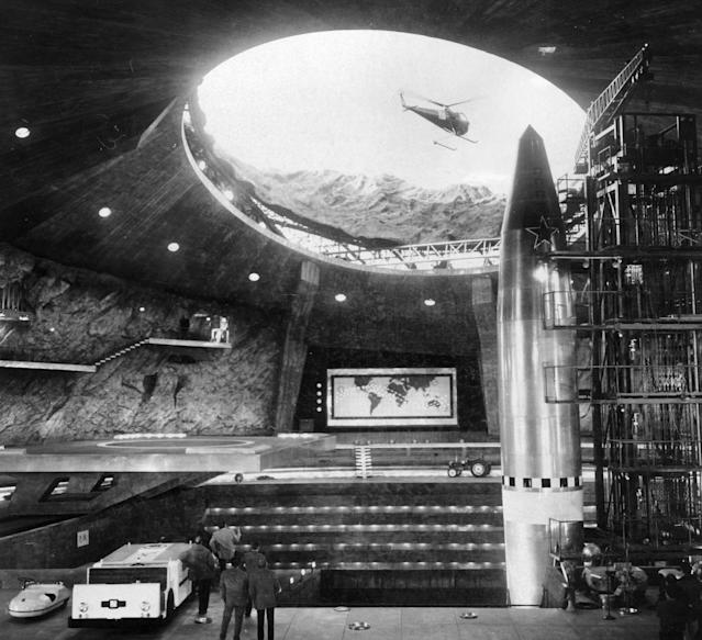 The extensive film set at Pinewood studios representing the interior of a volcano owned by the criminal syndicate SPECTRE built for <em>You Only Live Twice</em> designed by Ken Adam. (Keystone/Getty Images)