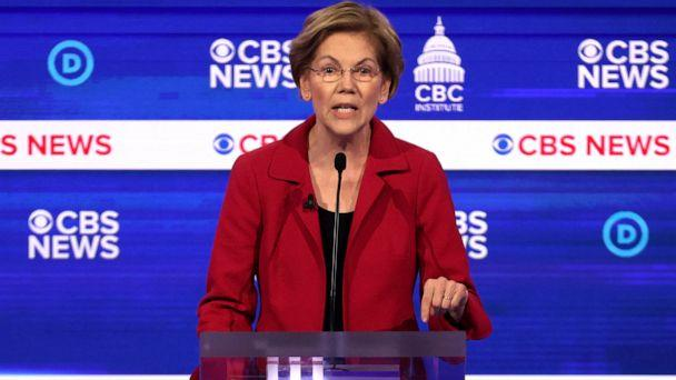 PHOTO: Democratic presidential candidate Sen. Elizabeth Warren speaks during the Democratic presidential primary debate at the Charleston Gaillard Center on Feb. 25, 2020 in Charleston, S.C. (Win Mcnamee/Getty Images)