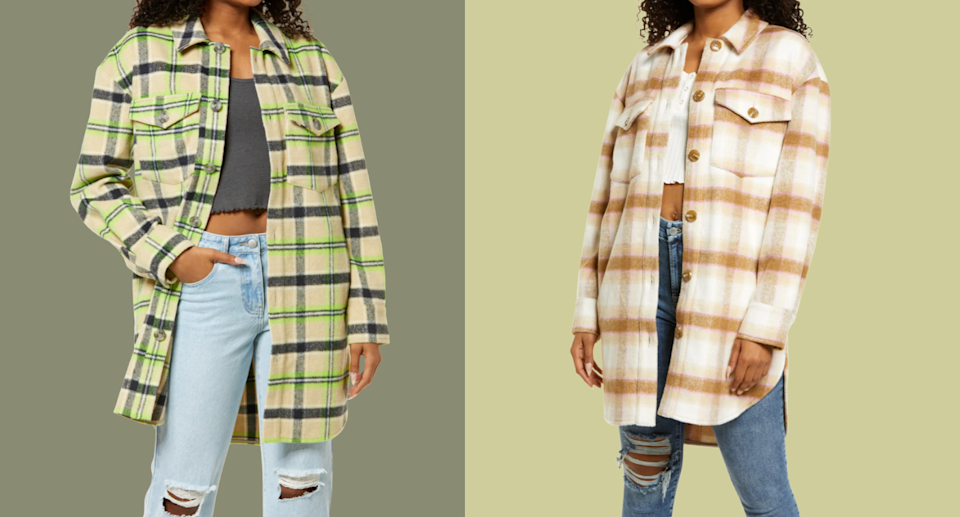 two models wearing jeans and plaid shirt-jacket shackets