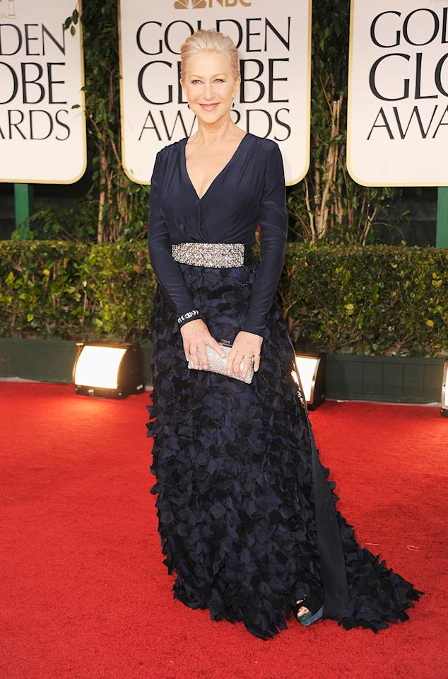 "Best grande dame: Helen Mirren. Wait, ""Prime Suspect"" Mirren? ""The Queen"" Mirren? Yes, even Actresses with a Capital A are admired for more than their talent. While Meryl Streep's finery stokes controversy (like her 2012 shirt dress), Mirren always gets nodding approval for hitting the right note, usually in Badgley Mischka, and showing the proper amount of decolletage."