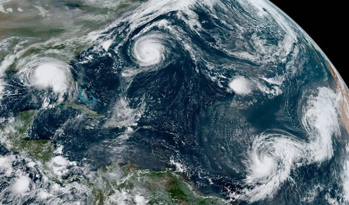 """<span class=""""caption"""">Hurricanes Sally and Paulette, Tropical Depression Rene, and Tropical Storms Teddy and Vicky were all active on Sept. 14, 2020.</span> <span class=""""attribution""""><a class=""""link rapid-noclick-resp"""" href=""""https://upload.wikimedia.org/wikipedia/commons/d/dd/Paulette%2C_Rene%2C_Sally%2C_Teddy_and_Vicky_2020-09-14_1550Z.jpg"""" rel=""""nofollow noopener"""" target=""""_blank"""" data-ylk=""""slk:NOAA"""">NOAA</a></span>"""