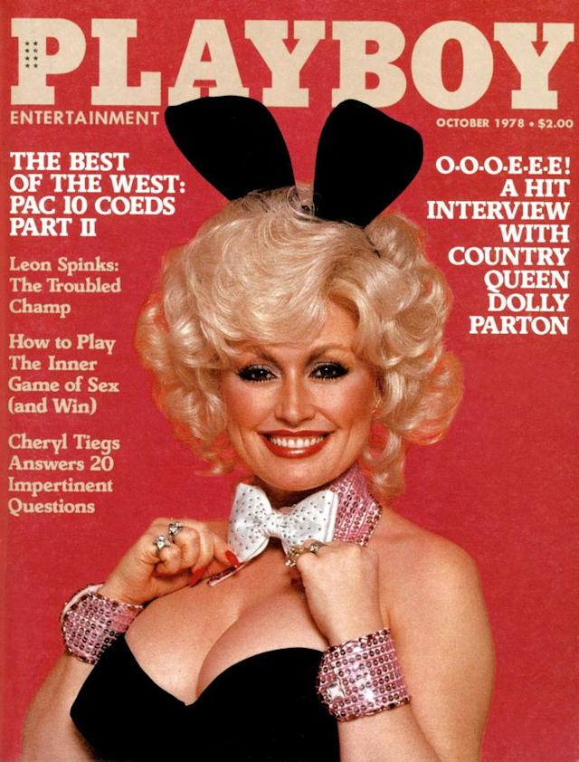 <p>Dolly Parton is almost unrecognizable on the October 1978 <em>Playboy</em> cover, posing in the iconic Playboy costume to promote her 20th album. (Photo: Playboy) </p>