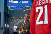 Founder & CEO of Monumental Sports & Entertainment and owner of the Washington Wizards and the Washington Capitals Ted Leonsis appears at a ribbon cutting for the William Hill Sportsbook at Monumental Sports & Entertainment's Capital One Arena in Washington, Wednesday, May 26, 2021. (AP Photo/Andrew Harnik)