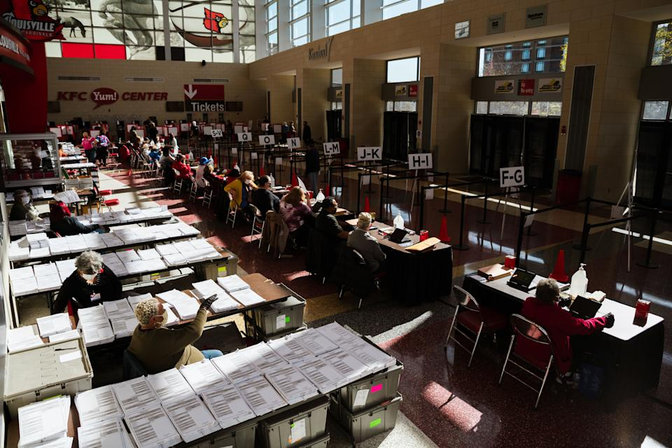Election officials wait for voters in the KFC YUM! Center on Nov. 3 in Louisville. The 2020 election was the first time many people with prior felony convictions were allowed to vote in Kentucky. (Photo: Jon Cherry via Getty Images)