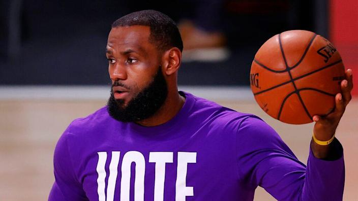 """Los Angeles Lakers star LeBron James' voting rights organization More Than A Vote has recruited over 10,000 poll workers for its """"We Got Next"""" campaign. (Photo by Mike Ehrmann/Getty Images)"""