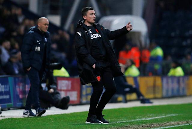 "Soccer Football - Championship - Preston North End vs Leeds United - Deepdale, Preston, Britain - April 10, 2018 Leeds United Manager Paul Heckingbottom Action Images/Craig Brough EDITORIAL USE ONLY. No use with unauthorized audio, video, data, fixture lists, club/league logos or ""live"" services. Online in-match use limited to 75 images, no video emulation. No use in betting, games or single club/league/player publications. Please contact your account representative for further details."