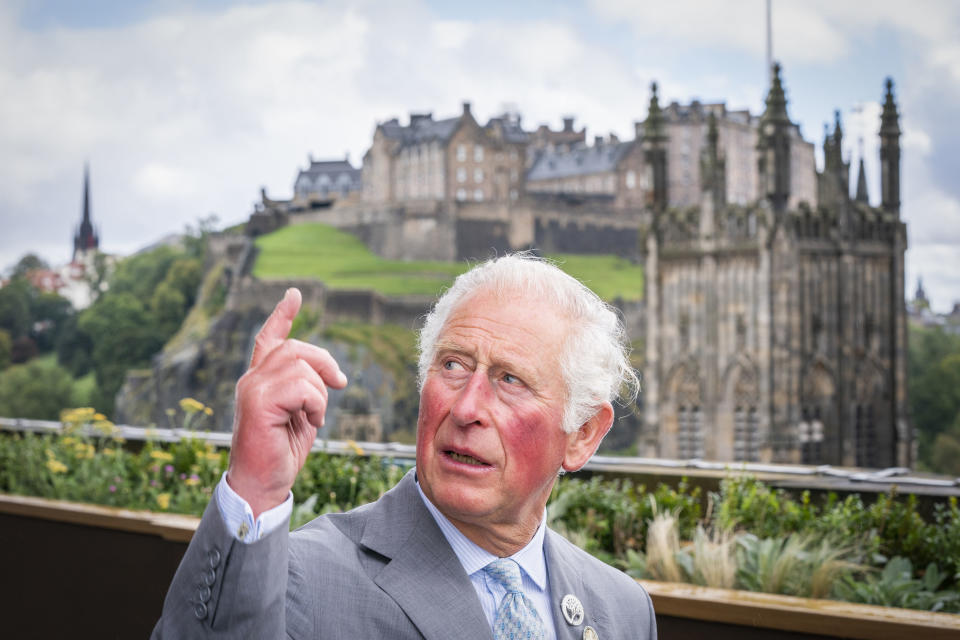 EDINBURGH, SCOTLAND - OCTOBER 01: Prince Charles, Prince of Wales known as the Duke of Rothesay when in Scotland, during a visit to Johnnie Walker Princes Street to officially open the new global visitor whisky experience October 1, 2021 in Edinburgh, Scotland.. (Photo by Jane Barlow - WPA Pool/Getty Images)