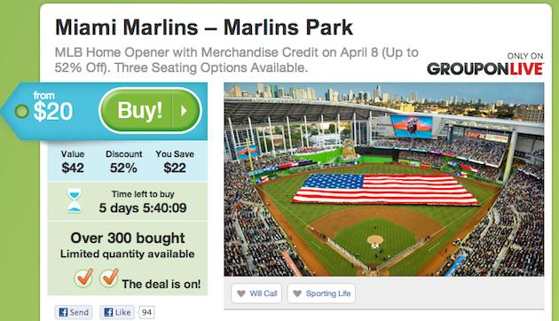 Miami Marlins Latest Ploy To Sell Tickets Groupon - Groupon baseball tickets