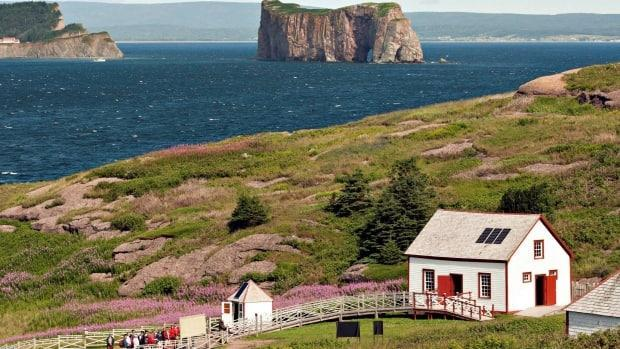 Tourists enjoy a visit to Bonaventure Island, with a view of Percé rock and the coastline of the nearby town. Percé is planning to add a tourist fee to certain transactions to help cover the costs of maintaining and developing tourist attractions. (Jacques Boissinot/the Canadian Press - image credit)