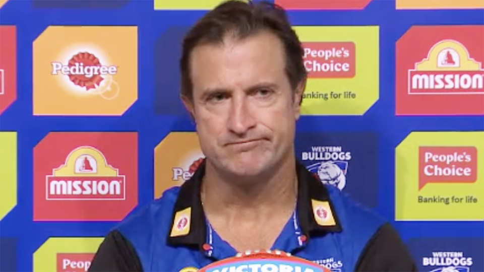 Western Bulldogs coach Luke Beveridge's disapproval was plain to see after being asked about number one draft pick Jamarra Ugle-Hagan, who is yet to make his AFL debut. Picture: Fox Footy