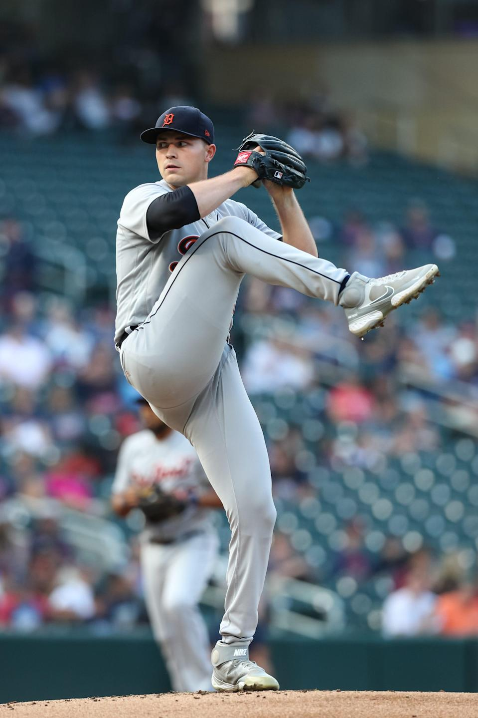 Tarik Skubal of the Detroit Tigers delivers a pitch against the Minnesota Twins in the first inning of the game at Target Field on July 8, 2021 in Minneapolis.