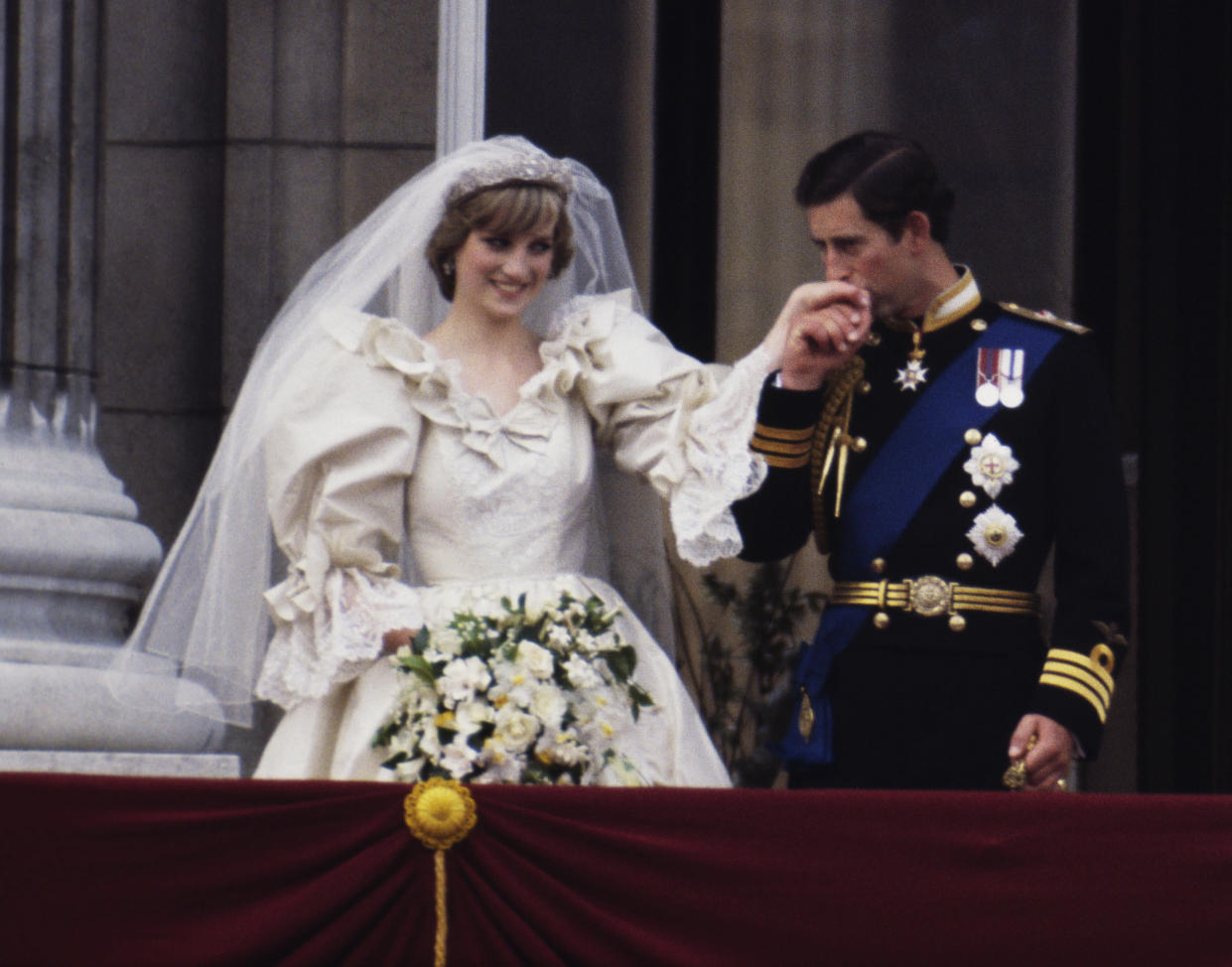 Princess Diana with her favourite white garden roses on her wedding day with Prince Charles. Source: Getty