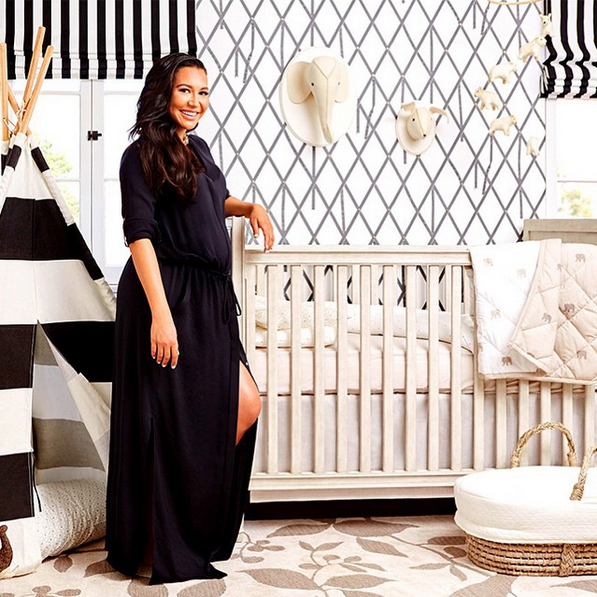 <p>With charcoal-and-white wallpaper and striped Roman shades, the actress chose strong graphic patterns and a neutral palette for her first baby's nursery. Whimsical touches, such as a black-and-white striped teepee and adorable animal accent pieces, keep the room kid-friendly and playful. Plus, a copper wire bird cage-inspired lighting fixture provides tiny pops of bright color to the muted color scheme.</p>