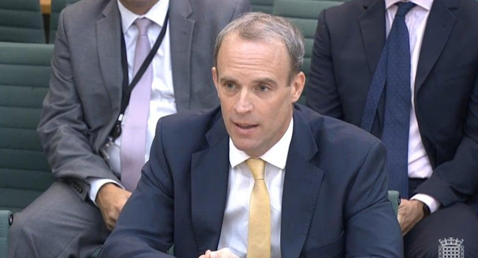 Foreign Secretary Dominic Raab gives evidence to MPs (House of Commons/PA) (PA Wire)