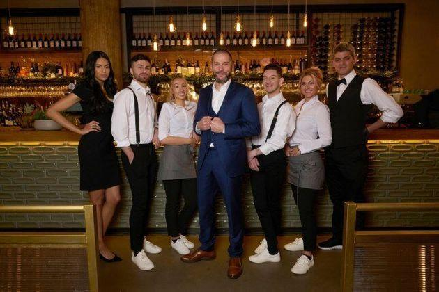 The First Dates Manchester team (L-R): Fiona, Grant, Daniella, Fred, David, CiCi and Merlin (Photo: Channel 4 )