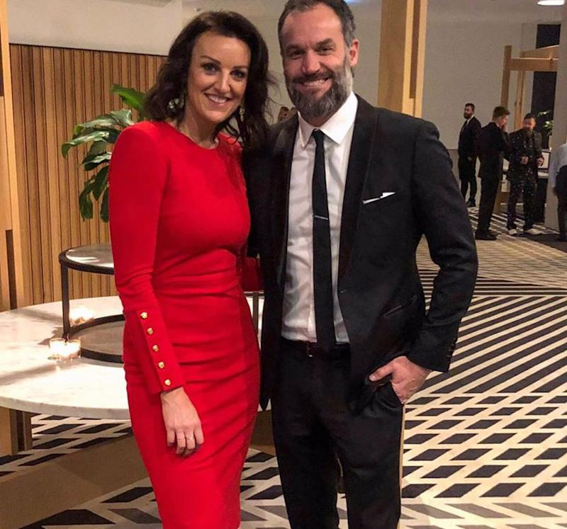 Bianca Chatfield and Mark Scrivens pose together