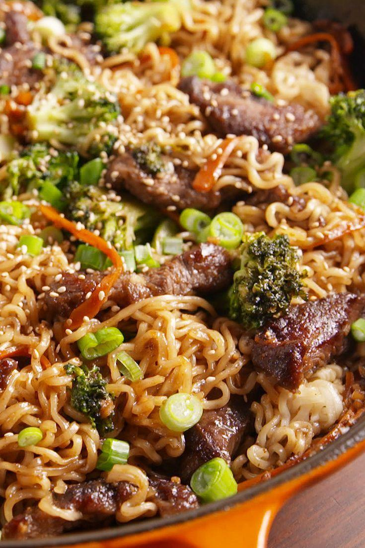 "<p>We use carrots and broccoli in this recipe but feel happy to swap in bok choy, kale or any veggies you want!</p><p>Ge the recipe from <a href=""https://www.delish.com/cooking/recipe-ideas/recipes/a51085/mongolian-beef-ramen-recipe/"" rel=""nofollow noopener"" target=""_blank"" data-ylk=""slk:Delish"" class=""link rapid-noclick-resp"">Delish</a>.</p>"