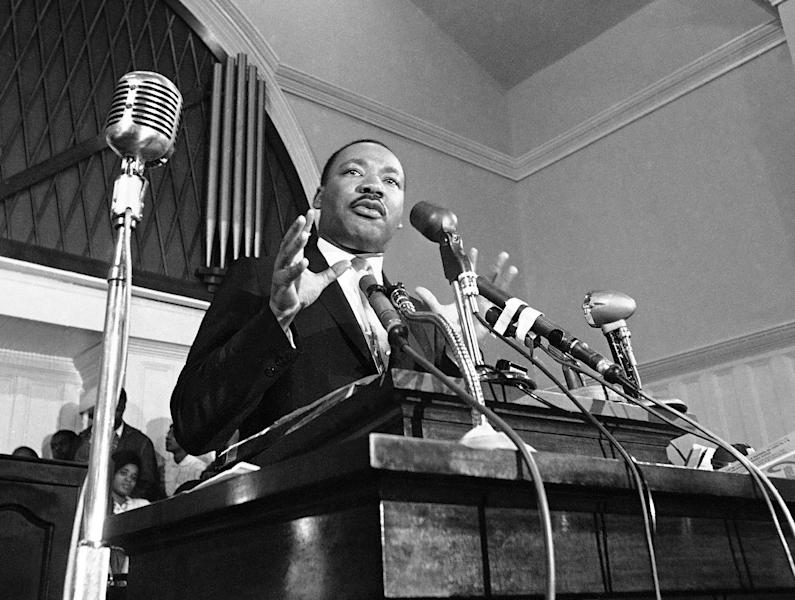 FILE - In this 1960 file photo, Martin Luther King Jr. speaks in Atlanta. A 1960 recording of an interview with King never before heard in public is up for sale. The tape was recorded by a Chattanooga man hoping to write a book and captures King talking about his trip to Africa, and his certainty that the child he and Coretta Scott King were expecting would be a boy. (AP File Photo)