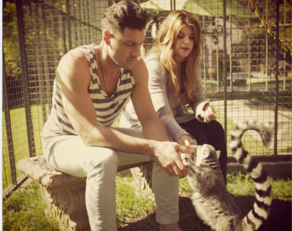 "But can he dance? Kirstie Alley and her ""Dancing With the Stars"" pro partner Maksim Chmerkovskiy shared a snack on Wednesday with one of the many lemurs who call Alley's residence home. The pic was posted to the official Instagram account for ""DWTS"" along with the note, ""Sometimes you gotta' step out of the ballroom and feed the Lemurs. #dwts #TeamKirstie @Kirstiealley @MaksimC #lemur."" The former ""Cheers"" star reportedly spends $40,000 annually on the cute primates. And is it us or did Maksim coordinate his outfit with them for his visit? (10/10/2012)"