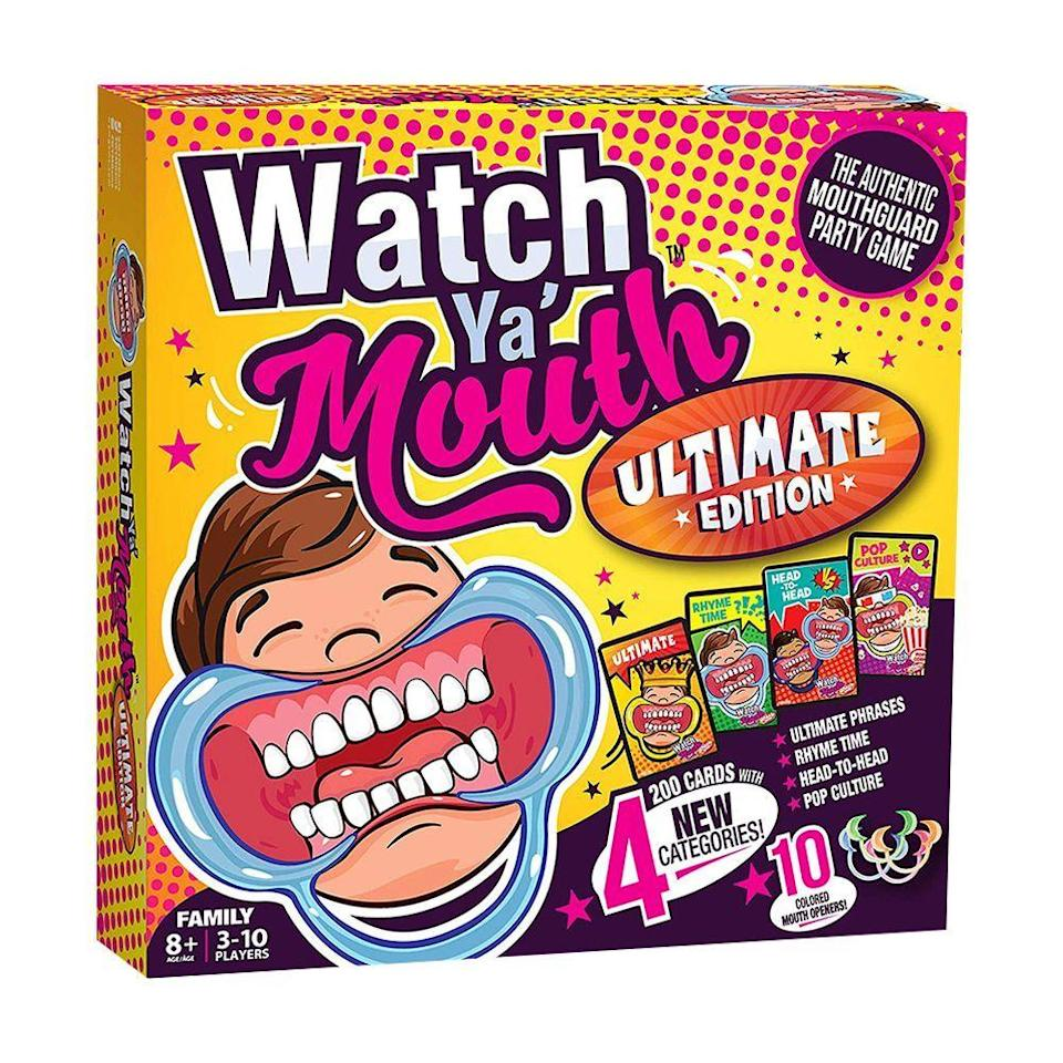 """<p><strong>Watch Ya' Mouth</strong></p><p>amazon.com</p><p><strong>$19.99</strong></p><p><a href=""""https://www.amazon.com/dp/B07SNVNBQ4?tag=syn-yahoo-20&ascsubtag=%5Bartid%7C2089.g.985%5Bsrc%7Cyahoo-us"""" rel=""""nofollow noopener"""" target=""""_blank"""" data-ylk=""""slk:Shop Now"""" class=""""link rapid-noclick-resp"""">Shop Now</a></p><p>Have you ever tried to speak with a mouth full of marshmallows? This family board game challenges you to whip out those same marshmallow-mouth skills to say a list 0f family-friendly phrases with the mouthpiece in place. </p><p>This edition comes with over 200 phrases for your family to mumble through as each team tries to figure out what is being said.</p>"""