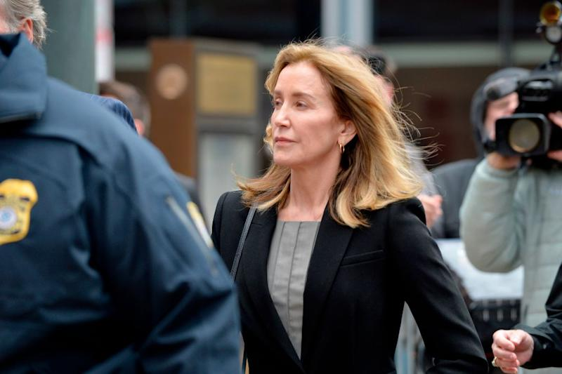 Felicity Huffman arrives for court in the college admissions scandal on May 13 in Boston. (Photo: Joseph Prezioso/AFP/Getty Images)