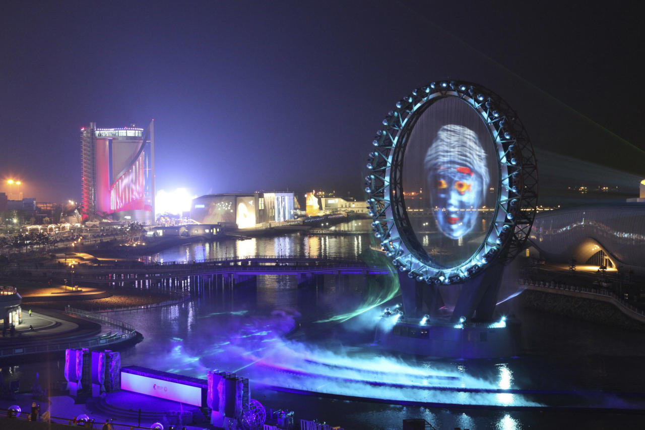 "The Big O, a water screen that is a landmark of the Expo 2012, is seen during a media day of the expo, in Yeosu, South Korea, Wednesday, May 9, 2012. The expo will open for three months on May 12 under the theme of ""The Living Ocean and Coast: Diversity of Resources and Sustainable Activities."" (AP Photo/Yonhap) KOREA OUT"