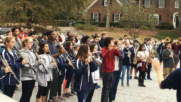 PHOTO: Members of the Norcross High School marching turned out Thursday in Georgia to help Josh Libman, not seen here, celebrate his nearing an end to chemotherapy treatment. (Adam Burns)