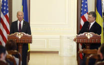 "FILE - In this Jan. 16, 2017, file photo Vice President Joe Biden, left, and Ukrainian President Petro Poroshenko give a joint statement to the press in Kiev, Ukraine. The leaked recordings of apparent conversations between Joe Biden and Ukraine's then-president largely confirm Biden's account of his dealings in Ukraine. The choppy audio, disclosed by a Ukrainian lawmaker whom U.S. officials described Thursday, Sept. 10, 2020, as an ""active Russian agent"" who has sought to spread online misinformation about Biden. (AP Photo/Sergei Chuzavkov, File)"