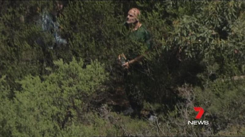 Tarantino helping police search for the missing 12-year-old's body.Photo: 7 News