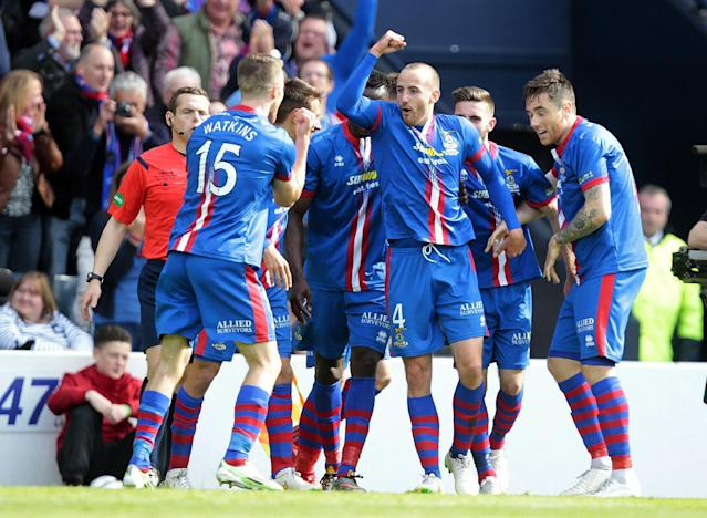 "Football - Falkirk v Inverness Caledonian Thistle - William Hill Scottish FA Cup Final - Hampden Park, Glasgow, Scotland - 30/5/15 Inverness Caledonian Thistle's James Vincent celebrates scoring their second goal with team mates Action Images via Reuters / Graham Stuart Livepic EDITORIAL USE ONLY. No use with unauthorized audio, video, data, fixture lists, club/league logos or ""live"" services. Online in-match use limited to 45 images, no video emulation. No use in betting, games or single club/league/player publications. Please contact your account representative for further details."