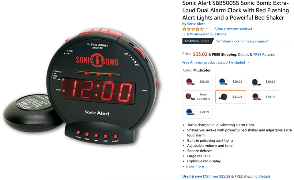 Amazon merges the 75 listings of the alarm. But no one checks if they are all selling the same product. (Screenshot/Yahoo Finance)