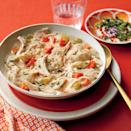 """<p><strong>Recipe: <a href=""""https://www.southernliving.com/recipes/old-fashioned-chicken-dumplings-recipe"""" rel=""""nofollow noopener"""" target=""""_blank"""" data-ylk=""""slk:Old-Fashioned Chicken and Dumplings"""" class=""""link rapid-noclick-resp"""">Old-Fashioned Chicken and Dumplings</a></strong></p> <p>First featured in Southern Living in October 1983, this no-frills recipe is a surefire winner.</p>"""