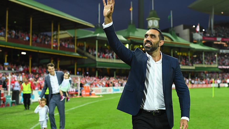 Adam Goodes retired from the AFL in 2015, after he was relentlessly booed by fans for more than 18 months over his public stand against racism.  (Photo by Cameron Spencer/Getty Images)