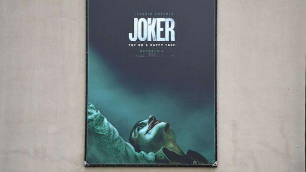 PHOTO: A poster for the upcoming film 'The Joker' is seen outside Warner Brothers Studios in Burbank, Calif., Sept. 27, 2019. (Robyn Beck/AFP/Getty Images)